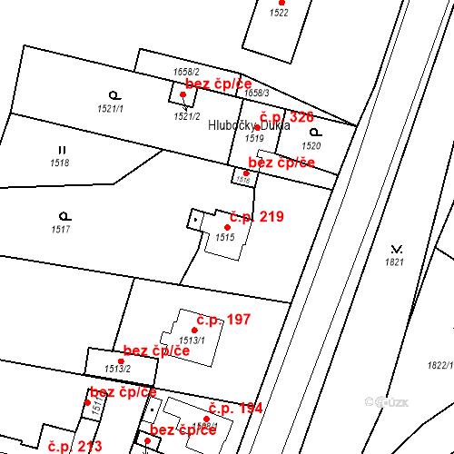 Katastrální mapa Stavební objekt Hlubočky 219, Hlubočky