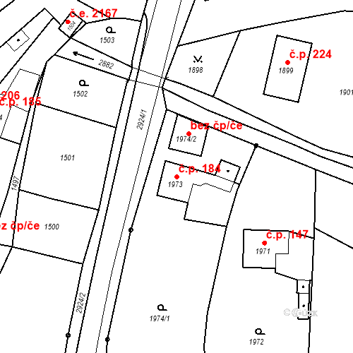 Katastrální mapa Stavební objekt Hlubočky 184, Hlubočky