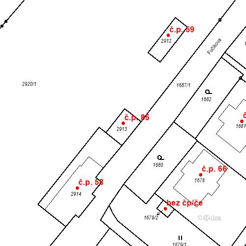 Katastrální mapa Stavební objekt Hlubočky 85, Hlubočky