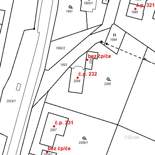 Katastrální mapa Stavební objekt Hlubočky 232, Hlubočky