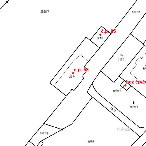 Katastrální mapa Stavební objekt Hlubočky 58, Hlubočky