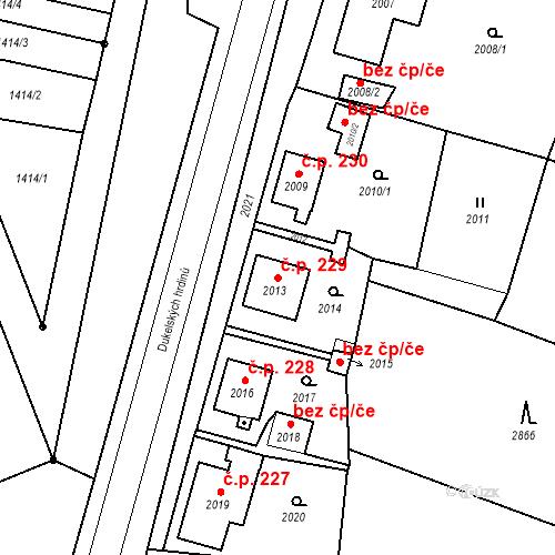 Katastrální mapa Stavební objekt Hlubočky 229, Hlubočky