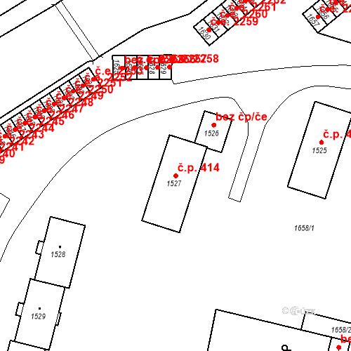 Katastrální mapa Stavební objekt Hlubočky 414, Hlubočky