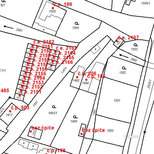 Katastrální mapa Stavební objekt Hlubočky 206, Hlubočky