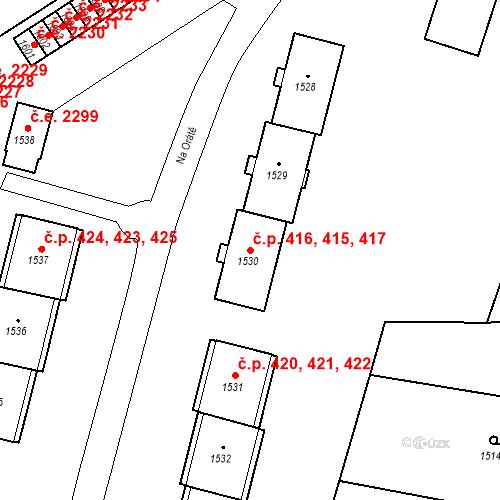 Katastrální mapa Stavební objekt Hlubočky 415, 416, 417, Hlubočky