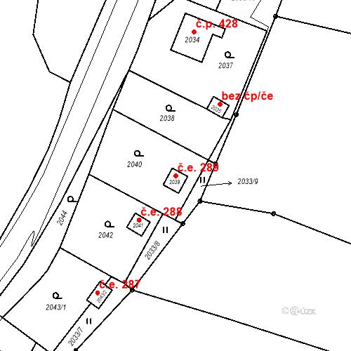 Katastrální mapa Stavební objekt Hlubočky 289, Hlubočky