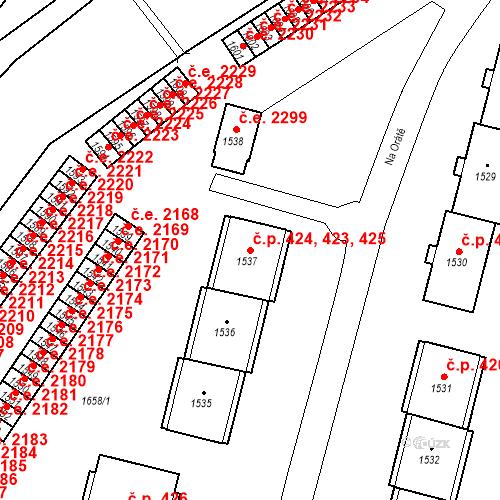 Katastrální mapa Stavební objekt Hlubočky 423, 424, 425, Hlubočky