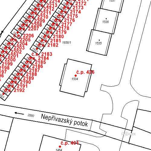 Katastrální mapa Stavební objekt Hlubočky 426, Hlubočky