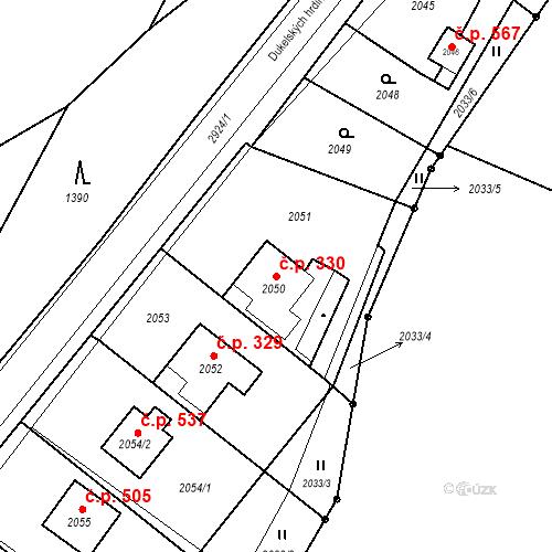 Katastrální mapa Stavební objekt Hlubočky 330, Hlubočky