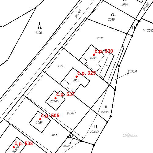 Katastrální mapa Stavební objekt Hlubočky 329, Hlubočky