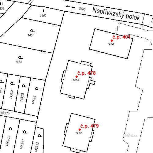Katastrální mapa Stavební objekt Hlubočky 478, Hlubočky