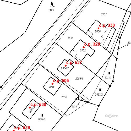 Katastrální mapa Stavební objekt Hlubočky 537, Hlubočky