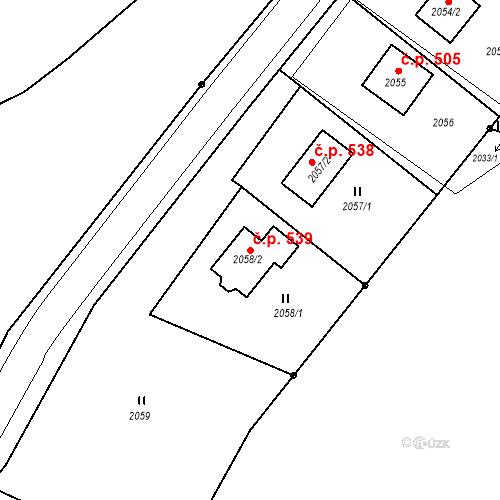 Katastrální mapa Stavební objekt Hlubočky 539, Hlubočky