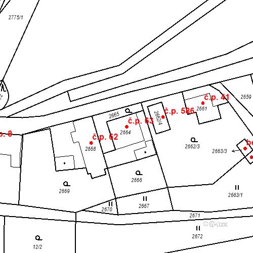 Katastrální mapa Stavební objekt Hlubočky 63, Hlubočky