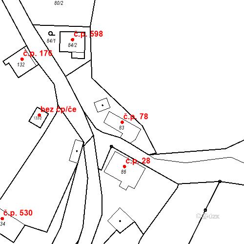 Katastrální mapa Stavební objekt Hlubočky 78, Hlubočky