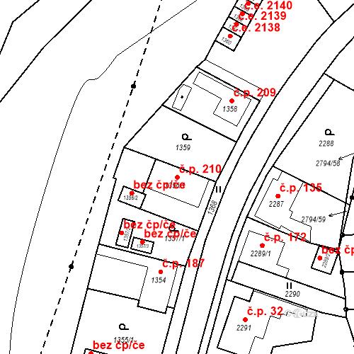 Katastrální mapa Stavební objekt Hlubočky 210, Hlubočky