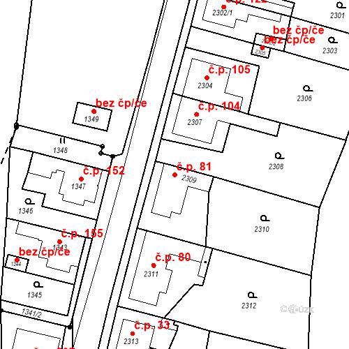 Katastrální mapa Stavební objekt Hlubočky 81, Hlubočky