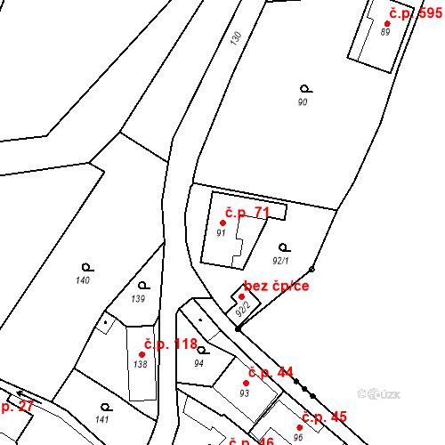 Katastrální mapa Stavební objekt Hlubočky 71, Hlubočky