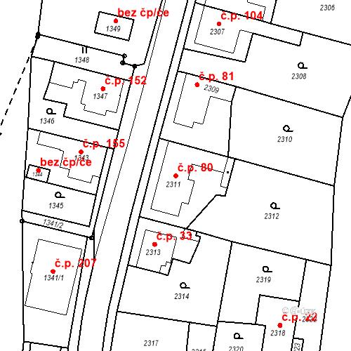 Katastrální mapa Stavební objekt Hlubočky 80, Hlubočky