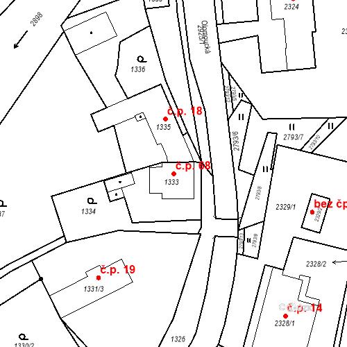 Katastrální mapa Stavební objekt Hlubočky 68, Hlubočky