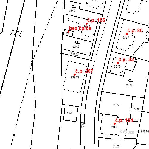 Katastrální mapa Stavební objekt Hlubočky 207, Hlubočky