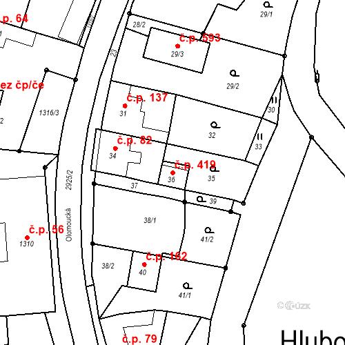 Katastrální mapa Stavební objekt Hlubočky 419, Hlubočky