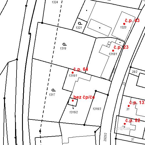 Katastrální mapa Stavební objekt Hlubočky 64, Hlubočky