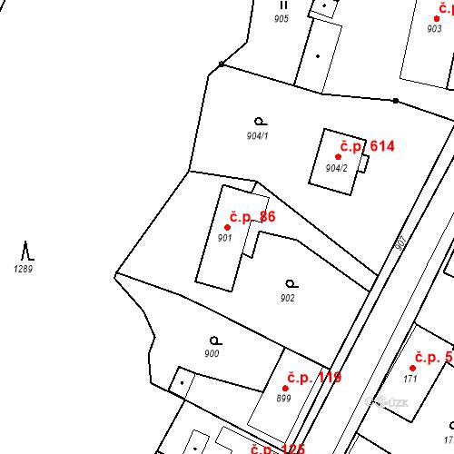 Katastrální mapa Stavební objekt Hlubočky 86, Hlubočky