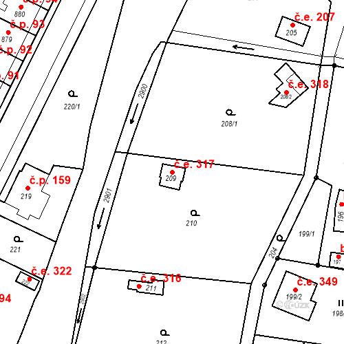 Katastrální mapa Stavební objekt Hlubočky 317, Hlubočky
