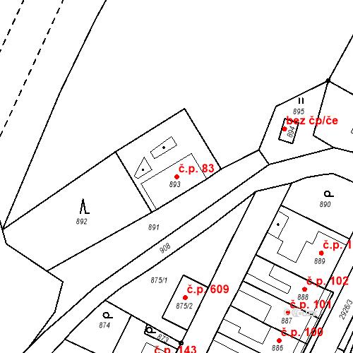 Katastrální mapa Stavební objekt Hlubočky 83, Hlubočky