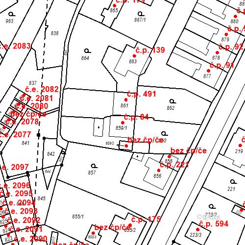 Katastrální mapa Stavební objekt Hlubočky 84, Hlubočky