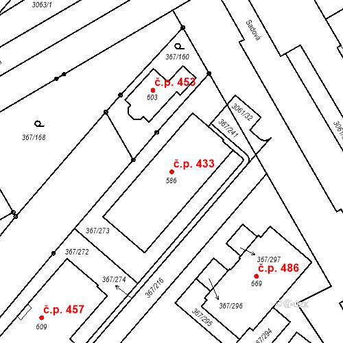 Katastrální mapa Stavební objekt Sady 433, Uherské Hradiště