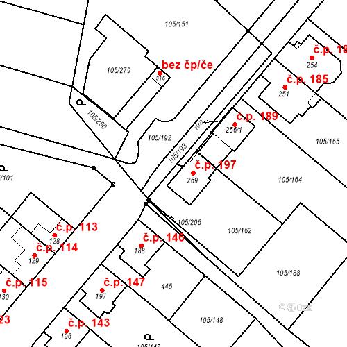 Katastrální mapa Stavební objekt Sušice 197, Sušice