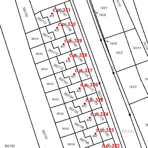 Katastrální mapa Stavební objekt Přáslavice 327, Přáslavice