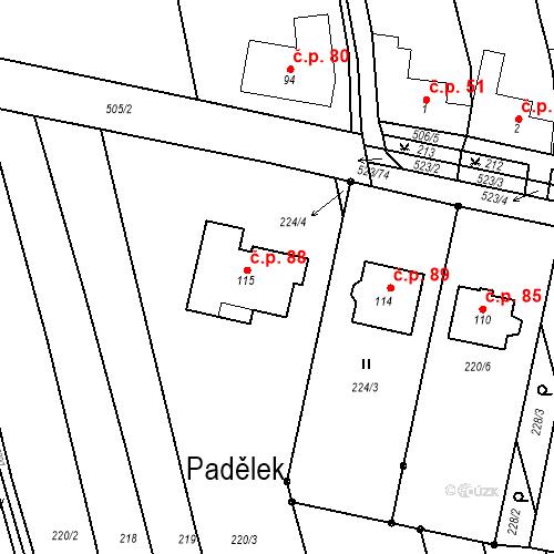 Katastrální mapa Stavební objekt Karolín 88, Karolín