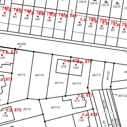 Katastrální mapa Stavební objekt Blatnice pod Svatým Antonínkem 875, Blatnice pod Svatým Antonínkem