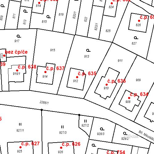 Katastrální mapa Stavební objekt Velká Bystřice 635, Velká Bystřice