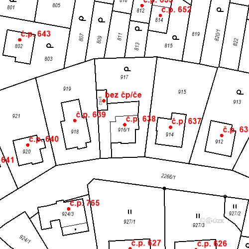 Katastrální mapa Stavební objekt Velká Bystřice 638, Velká Bystřice