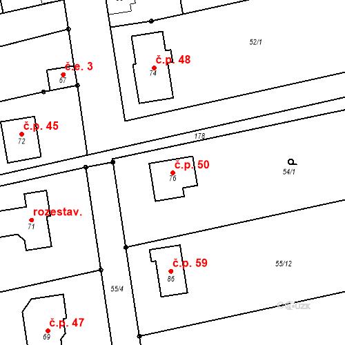 Katastrální mapa Stavební objekt Čelechovice 50, Čelechovice