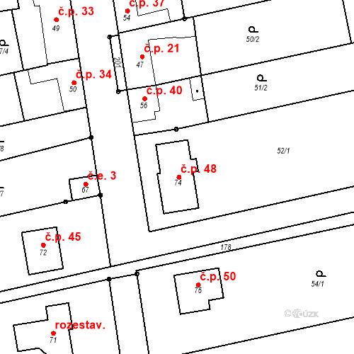 Katastrální mapa Stavební objekt Čelechovice 48, Čelechovice
