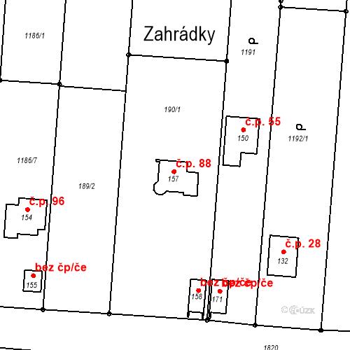 Katastrální mapa Stavební objekt Velké Těšany 88, Bařice-Velké Těšany