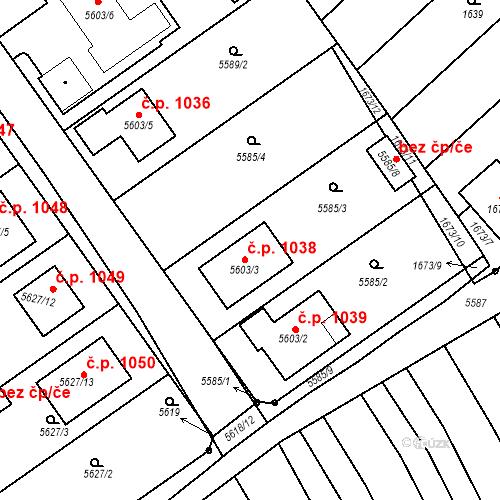 Katastrální mapa Stavební objekt Ostrožská Nová Ves 1038, Ostrožská Nová Ves