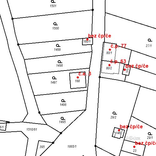 Katastrální mapa Stavební objekt Velké Těšany 3, Bařice-Velké Těšany