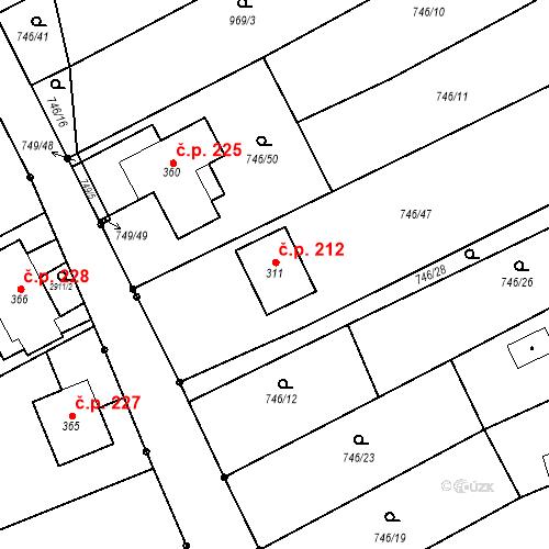 Katastrální mapa Stavební objekt Lubná 212, Lubná