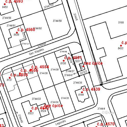 Katastrální mapa Stavební objekt Kroměříž 4551, Kroměříž