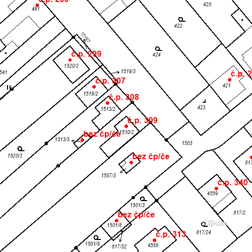 Katastrální mapa Stavební objekt Chylice 309, Ostrožská Nová Ves