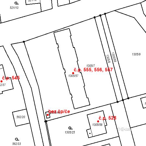 Katastrální mapa Stavební objekt Dolany 555, 556, 557, Dolany