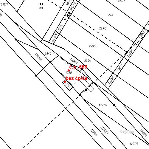 Katastrální mapa Stavební objekt Brodek u Přerova 558
