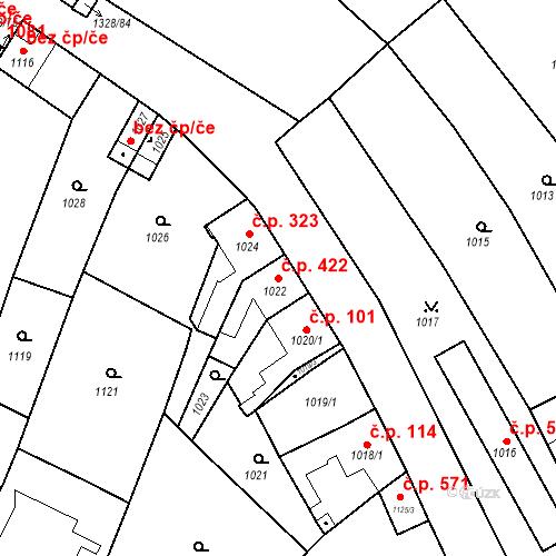 Katastrální mapa Stavební objekt Brodek u Přerova 422, Brodek u Přerova