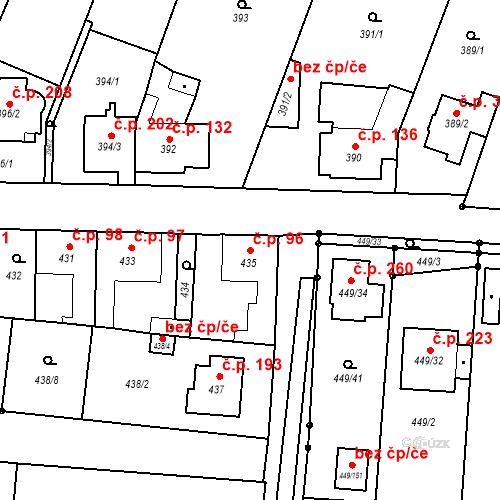 Katastrální mapa Stavební objekt Bystrovany 96, Bystrovany